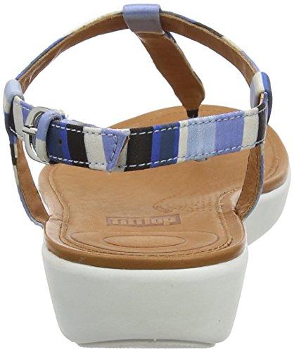 FitFlop Damen Tia Toe-Thong Sandals-Stripey Riemchensandalen Blue (Blue Stripey 548)