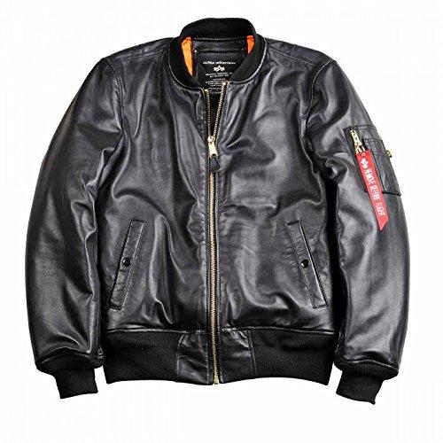 Alpha Industries MA-1 VF PM Leather ist eine Bomberjacke aus schwarzem Lammnappa Leder, ist komfortabel mit Multifunktionstasche starke Strickbündchen winddicht diagonale Aussentaschen neu original