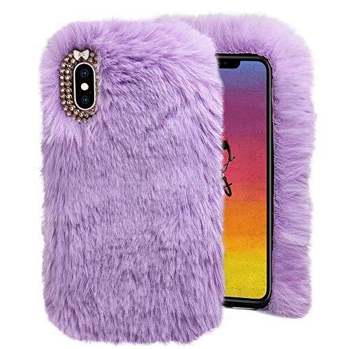 Omiky® Luxus kristall Bling case Winter warm Flauschigen Villi plüsch Wolle Bling case hülle für iPhone XS max 6,5 Zoll (Lila)