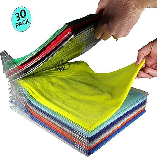 Nšilko Closet Organizer Clothing Storage,Kleidung Organisieren Klappbrett,Multifunktionale Kleidung Ordner,T-Shirt Kleidung Ordner großen Magic Schnelle Wäsche Organizer (30PCS) (Kleider Schrank Organizer)