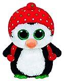 Carletto Ty 36950 - Freeze - Pinguin mit Mütze und Glitzeraugen, Glubschi's, Beanie Boo's, X-Mas Limitiert, Large 24 cm, rot