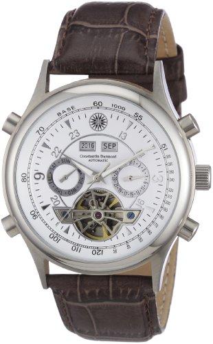 Constantin Durmont Lafitte - Reloj analógico de caballero automático con correa de piel marrón - sumergible a 30 metros