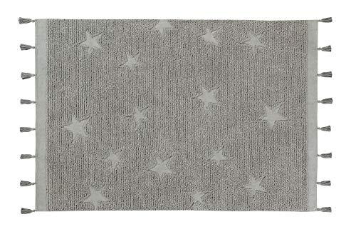 Lorena Canals Alfombra Lavable Hippy Stars Algodón Natural - Gris - 175x120 cm
