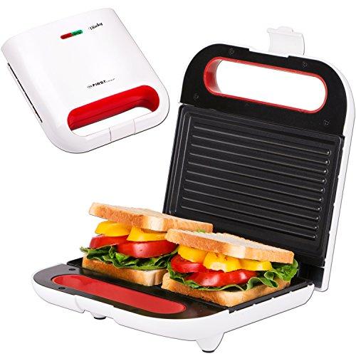 Appareil à croque-monsieur et grill de table 2 en 1 | thermostat | témoin de cuisson | grill pour sandwich électrique | 800 Watt | grill de contact | blanc | convient avec des toasts de taille