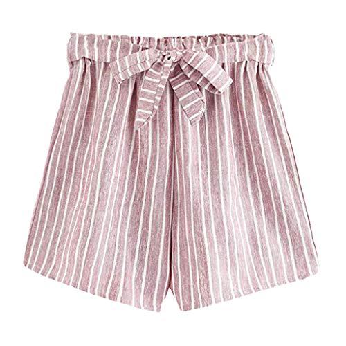 Zaru-Mode Zarupeng Gestreifte Shorts mit Gürtel, Frauen-Sommer Strand Shorts Freizeitshorts Elastische Taille Weite Beinhosen Kurze Stoffhose -