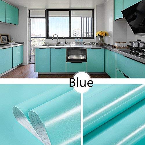 Fatalom Shiny Furniture Solid Color PVC Abnehmbare Aufkleber Kontaktpapier selbstklebend Regal Liner Tisch Tür Aufkleber 99,9 cm x 39,9 cm (blau) -