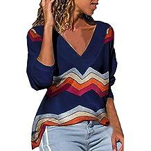 Blusas para Mujer 2019 Raya Blusas De Impreso Naturazy Jerseys De SuéTer Camisetas con Cuello En