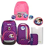 ergobag pack-Set Ranzenset 6-tlg. inkl. Regencape PerlentauchBär + Shiny Pink