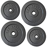 30 kg Hantelscheiben Set | 2 x 10 + 2 x 5 kg Gusseisen Gewichte | 30/31 mm Bohrung