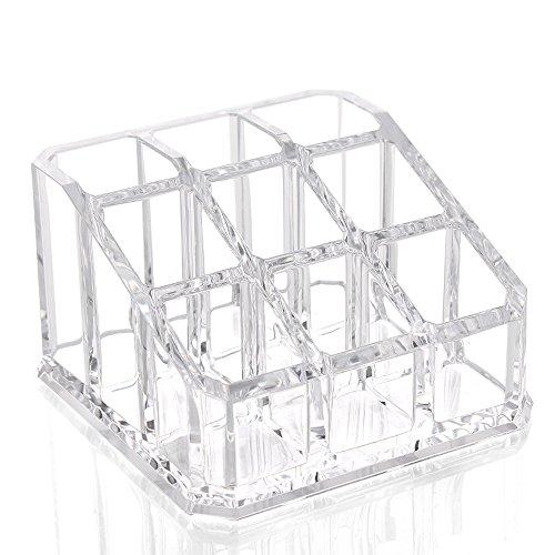 InnoWill Maquillage Étuis 9 Compartiments Acrylique Transparent Organisateur de Cosmétique