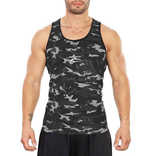 SMILODOX Camouflage Tank Top Herren   Muskelshirt ideal für Sport Gym Fitness & Bodybuilding   Muscle Shirt - Stringer - Tanktop - Unterhemd - Achselshirt Anthrazit Camo