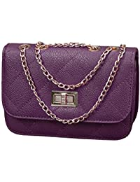 0f0bfac4d54 HDE Women s Small Crossbody Handbag Purse Bag with Chain Shoulder Strap ( Dark Purple)