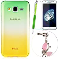 GrandEver 4 in 1 Custodia per Samsung Galaxy J5 UltraSlim TPU Case Morbido Silicone Cover Transparente Copertura Fashion Design + Retro Anti-Dust Plug + Universale Stilo Capacitivo + Schermo Protettori-Graduale Verde & Giallo