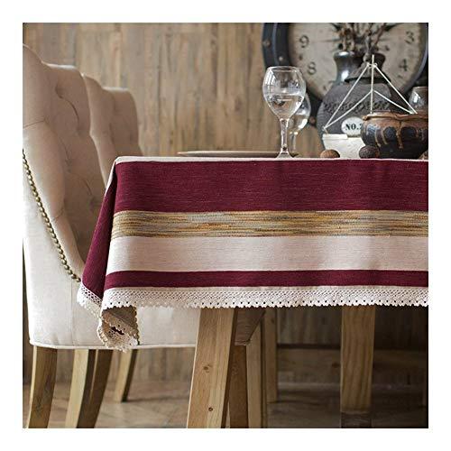Tablecloth Rechteckige Tischdecke - Gestreifte Tischdecke aus Baumwolle im nordischen Stil Mediterraner Couchtisch Kleine frische Tischdecke Stoff Art.-Nr. (Color : H, Size : 140 * 200CM)