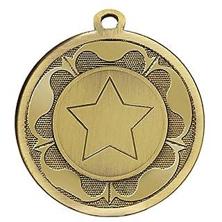45mm Star Rosette Medaille in Gold Silber oder Bronze mit gratis Gravur bis zu 30Buchstaben plus Gratis Band, Bronze AM1090.12