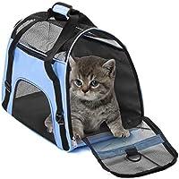 Transporttasche für Haustiere Wasserdichte Airline-zugelassene, tragbare Outdoor-Premium-Reisetaschen für kleine Welpen-Komforthunde, Katzen-Käfig Kistenbox(L,Blue)
