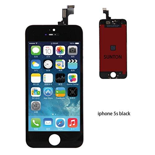 SUNTON LCD Display Touchscreen Ersatz Bildschirm Front Komplettes Glas für iPhone 5S Schwarz (Digitizer Lcd-screen-glas)