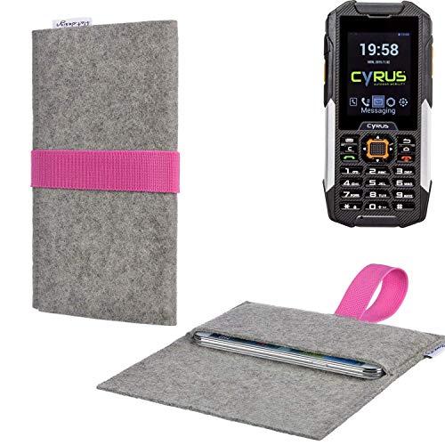 flat.design Handy Tasche Aveiro mit Filz-Deckel und Gummiband-Verschluss für Cyrus cm 16 - Sleeve Case Etui Filz Made in Germany hellgrau rosa - passgenaue Handyhülle für Cyrus cm 16