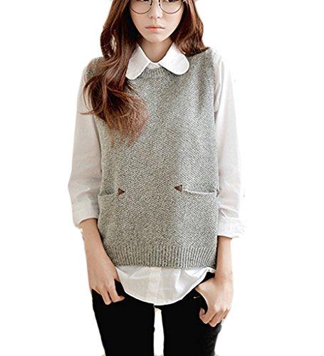 Pullunder Pullover Vest Damen Elegant Lässige Rundhals Locker Einfarbig Herbst Winter