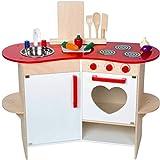 Unbekannt Holz Kinder Küche mit Herz-Design, Zubehör, mit Geräuschen, 80x81 cm - Spielküche Spielzeug-Küche Zubehör