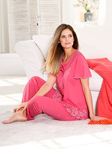 Damen Schlafanzug mit Satinpaspelierung by Simone Himbeere