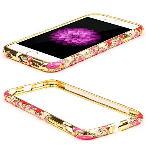 Urcover Aluminium Bumper Diamond Case kompatibel mit Apple iPhone 6 / 6s Schutz Hülle Zubehör Cover Alu Cover Metal Pink/Weiß