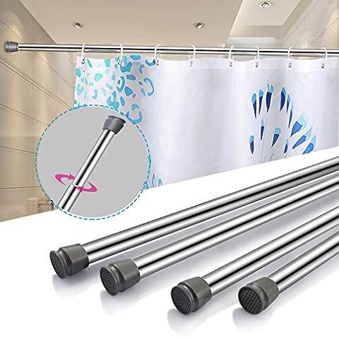 AuraLum® Aluminium Alu Teleskop Duschstange Duschvorhangstange Brausestange Brausehalter ohne Bohren ,Verstellbare 70-120cm - Silber