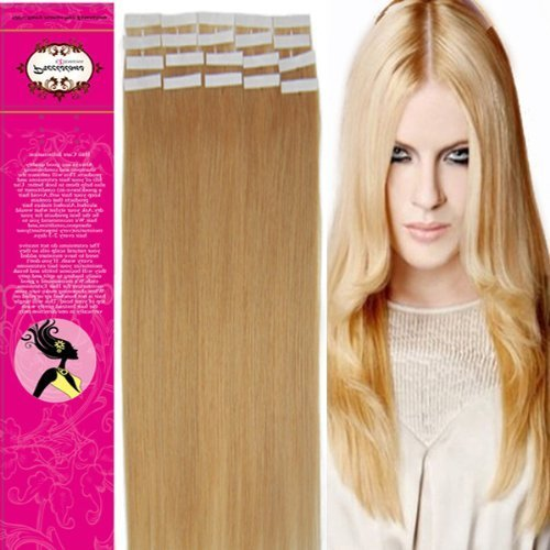Style 18'' 100% Real Human Hair Tape-In Human Hair Extensions Straight Hair Color 27 Dark Blonde 40g Beauty Design Salon