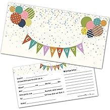 12 Einladungskarten Kindergeburtstag Mit Luftballons U2013 Einladungen  Geburtstag Jungen Mädchen Mit Umschlägen   Einladungskarten Kinder