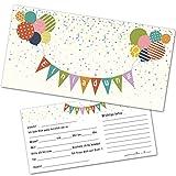 12 Einladungskarten Kindergeburtstag mit Luftballons – Einladungen Geburtstag Jungen Mädchen mit Umschlägen - Einladungskarten Kinder (bunt)