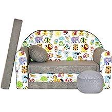 WELOX M00000617 kindersofa, Stoff, grau, 50 x 100 x 60 cm
