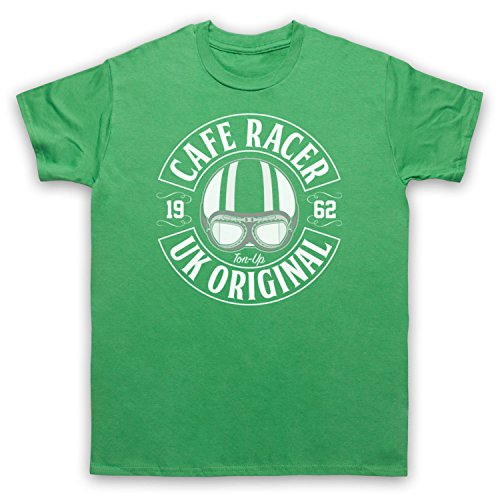Cafe Racer UK Original Motorcycle Ton Up Herren T-Shirt Grun