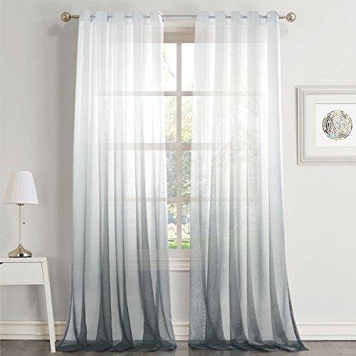 Passen Perfekt Zu Sheer (Dreaming Casa Farbverlauf Vorhang Grau Voile Gardinen Transparent mit Ösen Ösenschal Dekoschal Fensterschal für Wohnzimmer Schlafzimmer 140cm x 225cm (B x H) 2er Set)
