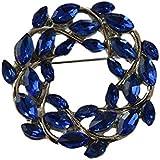 Gudeke Azul Guirnalda Diamante de imitación Aleación broche y Alfiler Cuerpo para mujeres