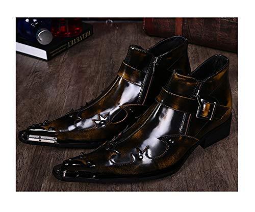 RHSMY Herren Western-Cowboy-Stiefel Lackoberfläche Krokodil-Muster-Martin Stiefel Spitze beiläufige Schuh-Seiten-Reißverschluss-Booties,003,45EU/9UK -