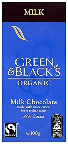 Green & Black's Organic Cocoa Milk Chocolate Bar, 100g (Pack of 5)