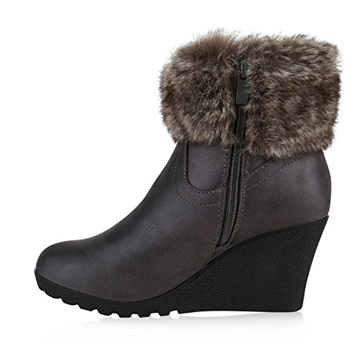 Warm Gefütterte Damen Stiefeletten Keilabsatz Kunstfell Boots Grau
