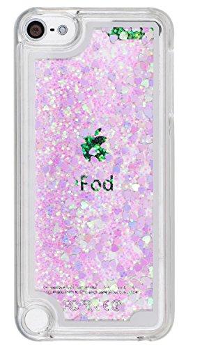 iPod 5. Generation Fall Liquid Quicksand Bling Love Herz Stil, iPod 6. Generation Fall Wasserfall Floating Style, Touch 56Schutzhülle, Glitter Liquid Quicksand PC Hard Case für Touch und Touch 6 (Herz Case Für Ipod Touch 5)