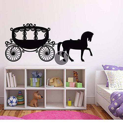 Decor Kutsche Prinzessin Pferd Wandaufkleber Nette Kinderzimmer Wandbild Kutsche Wandtattoos Prinzessin Stil Wandkunst 97 * 42 Cm ()