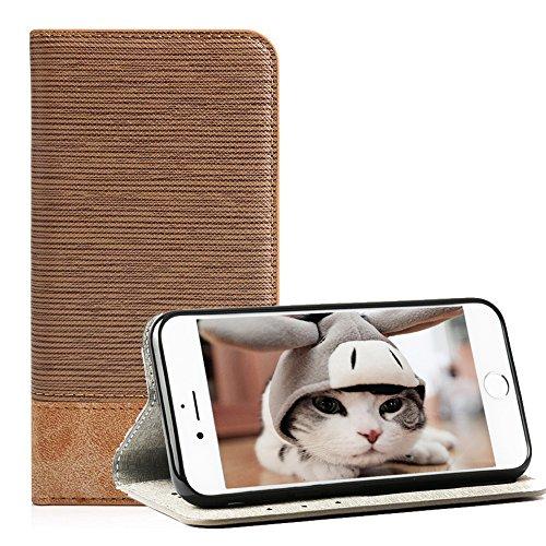 Hüllen für iPhone 6 Plus 5.5'', Techcode iPhone 6 Plus Handyhülle Cover Schutzhülle PU Leder Brieftasche Hülle Schlag Mappen Kasten Abdeckung 5,5 Zoll (Leder-mikrofon Abdeckung)