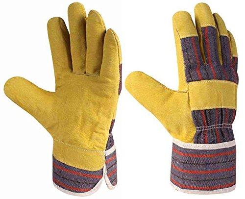Xclou Baumwoll-Arbeitshandschuhe in Gelb, Schutzhandschuhe XL / Gr 10 mit gestreifter Stulpe, Schutz-Handschuhe mit Leder verstärkt, Handschuhe für Handwerker, Arbeitshandschuhe für Arbeit & für Hobby -