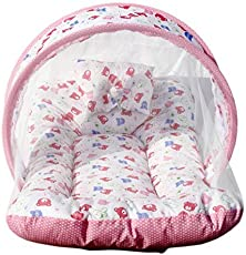 Toddler Mattress with Mosquito Net for Baby/Baby Mosquito net with Bed - Ideal for New Born Upto 8 Months Baby Bedding Set(100% Soft Pure Cotton)(Print is Same as Cartoons Shown) Pink