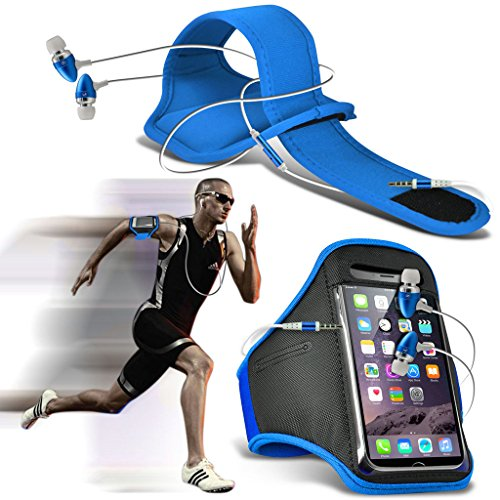 Fone-Case (Baby Blue) Huawei P10 Plus Einstellbare Sport-Armband Fall-Abdeckung für Laufen Jogging Radfahren Gym With Premium Quality in Ear Buds Stereo Hands Free Headphones Headset with Built in Microphone Mic and On-Off Button
