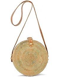 Everaly Borsa a tracolla in pelle intrecciata a mano vintage di Bali Borsa  a tracolla rotonda in paglia da donna Borsa a… e2f929bdaab