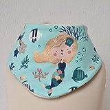 Baby Lätzchen Sabberlatz Halstuch Meerjungfrau Glanz gold türkis creme 0-3 Jahre Jersey/Fleece Mädchen