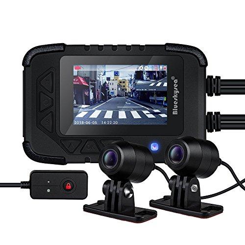"Blueskysea Motorrad Dash Cam Motorcycle Aufnahme Kamera 1080P Dual-Lens Video-Rekorder, Motorrad Dash Cam Sport Action Kamera mit 2,7"" LCD Bildschirm 130 Grad Winkel Night Vision (DV688)"