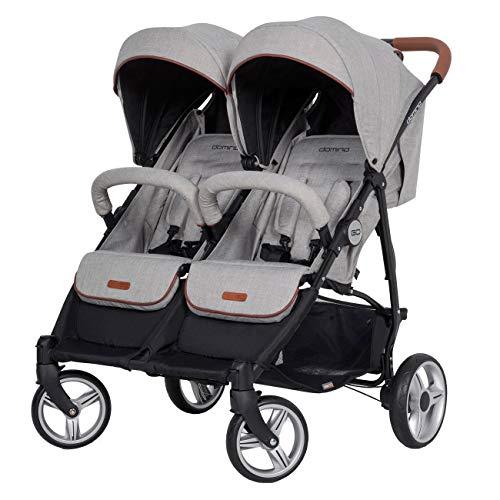 Geschwisterwagen Zwillingsbuggy Kompakt Faltbar und 72 cm Breite; Grey Fox