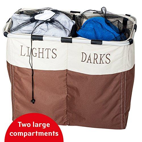 Tatkraft Divide Cesta para Colada con los Compartimentos para Prendas Oscuras y Claras 106L 62X33X52cm