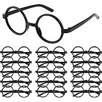 16 Piezas Gafas de Magos de Plástico Marco de Gafas Redondo sin Lentes para Materiales de Fiesta de Disfraces Halloween, Negro