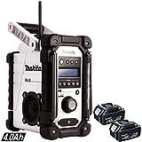 Makita DMR104W Job Site Radio with DAB White + 2 x BL1840 4.0Ah Battery